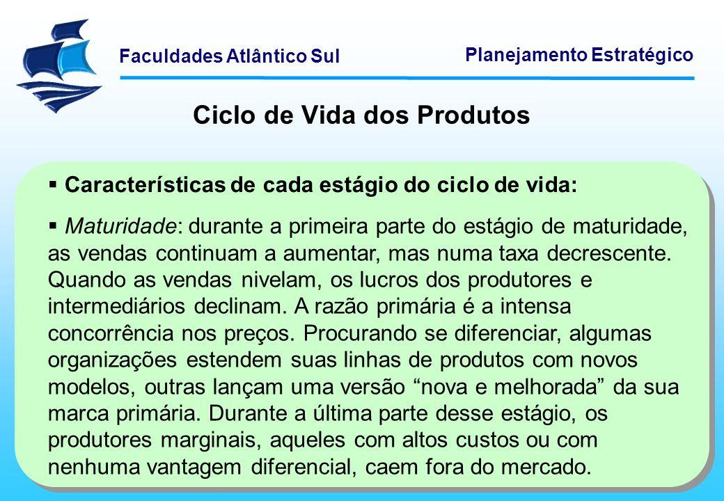 Faculdades Atlântico Sul Planejamento Estratégico Ciclo de Vida dos Produtos Características de cada estágio do ciclo de vida: Maturidade: durante a p