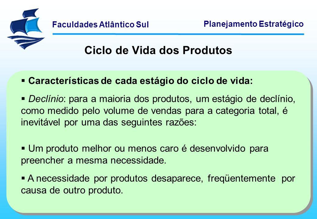 Faculdades Atlântico Sul Planejamento Estratégico Ciclo de Vida dos Produtos Características de cada estágio do ciclo de vida: Declínio: para a maiori