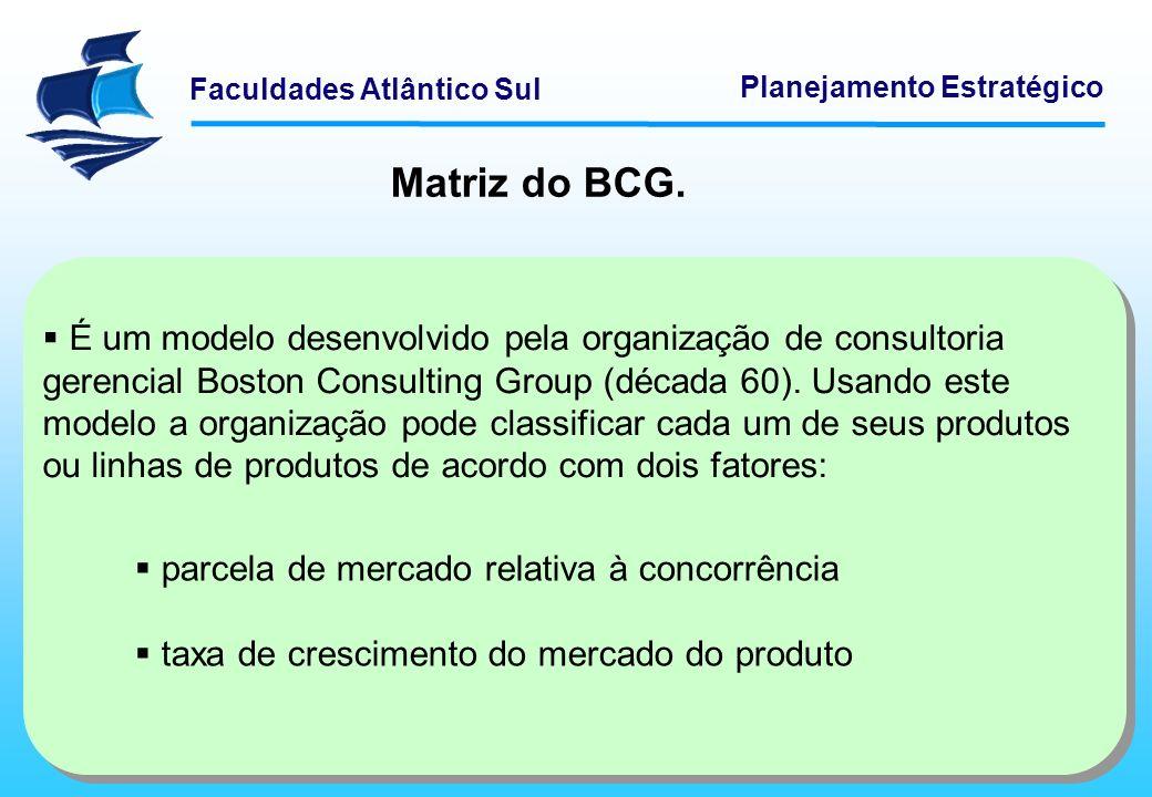 Faculdades Atlântico Sul Planejamento Estratégico Matriz do BCG. É um modelo desenvolvido pela organização de consultoria gerencial Boston Consulting