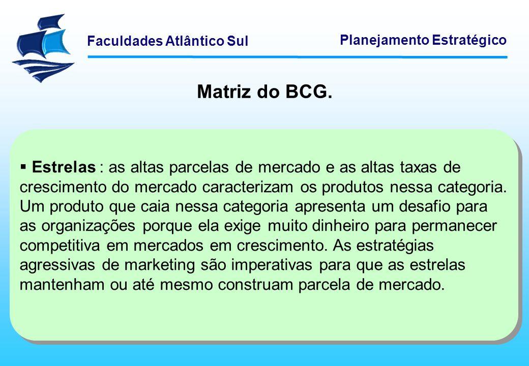 Faculdades Atlântico Sul Planejamento Estratégico Matriz do BCG. Estrelas : as altas parcelas de mercado e as altas taxas de crescimento do mercado ca