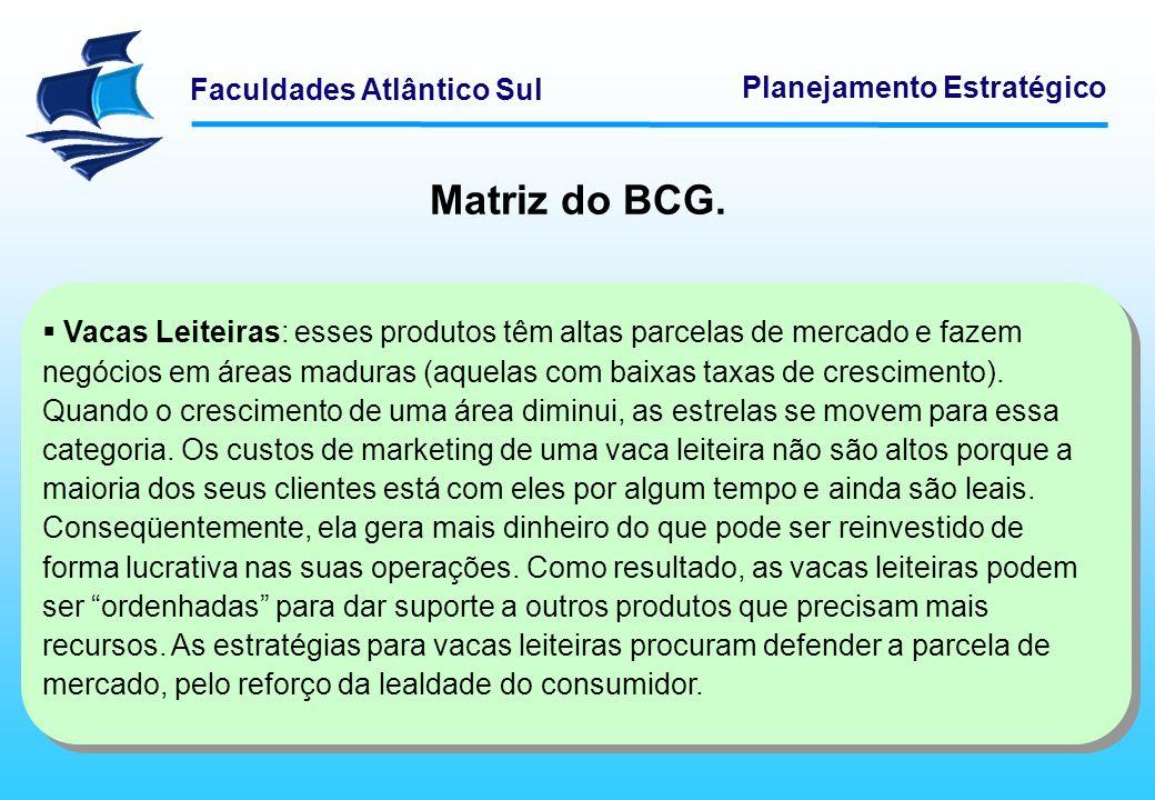 Faculdades Atlântico Sul Planejamento Estratégico Matriz do BCG. Vacas Leiteiras: esses produtos têm altas parcelas de mercado e fazem negócios em áre