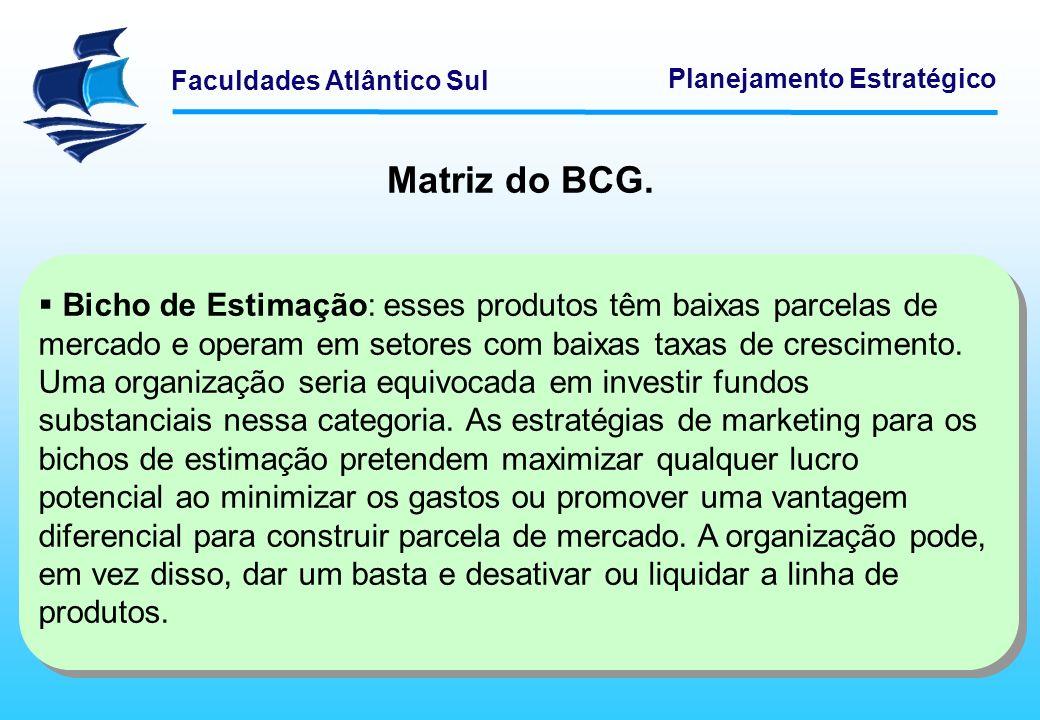 Faculdades Atlântico Sul Planejamento Estratégico Matriz do BCG. Bicho de Estimação: esses produtos têm baixas parcelas de mercado e operam em setores