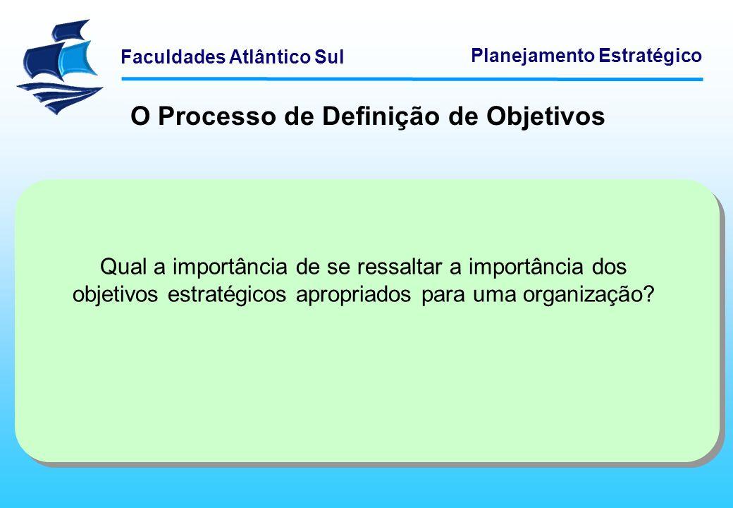 Faculdades Atlântico Sul Planejamento Estratégico O Processo de Definição de Objetivos Qual a importância de se ressaltar a importância dos objetivos