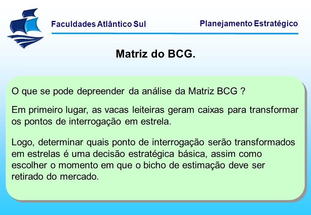 Faculdades Atlântico Sul Planejamento Estratégico Matriz do BCG. O que se pode depreender da análise da Matriz BCG ? Em primeiro lugar, as vacas leite