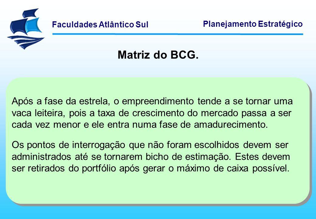 Faculdades Atlântico Sul Planejamento Estratégico Matriz do BCG. Após a fase da estrela, o empreendimento tende a se tornar uma vaca leiteira, pois a