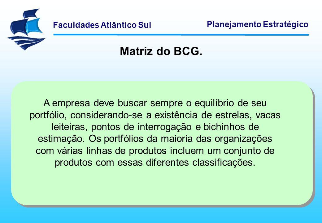 Faculdades Atlântico Sul Planejamento Estratégico Matriz do BCG. A empresa deve buscar sempre o equilíbrio de seu portfólio, considerando-se a existên