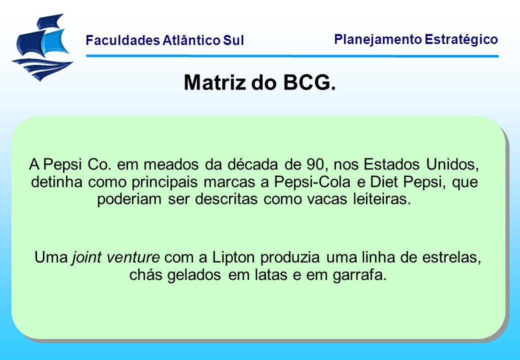 Faculdades Atlântico Sul Planejamento Estratégico Matriz do BCG. A Pepsi Co. em meados da década de 90, nos Estados Unidos, detinha como principais ma