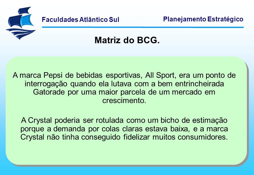 Faculdades Atlântico Sul Planejamento Estratégico Matriz do BCG. A marca Pepsi de bebidas esportivas, All Sport, era um ponto de interrogação quando e
