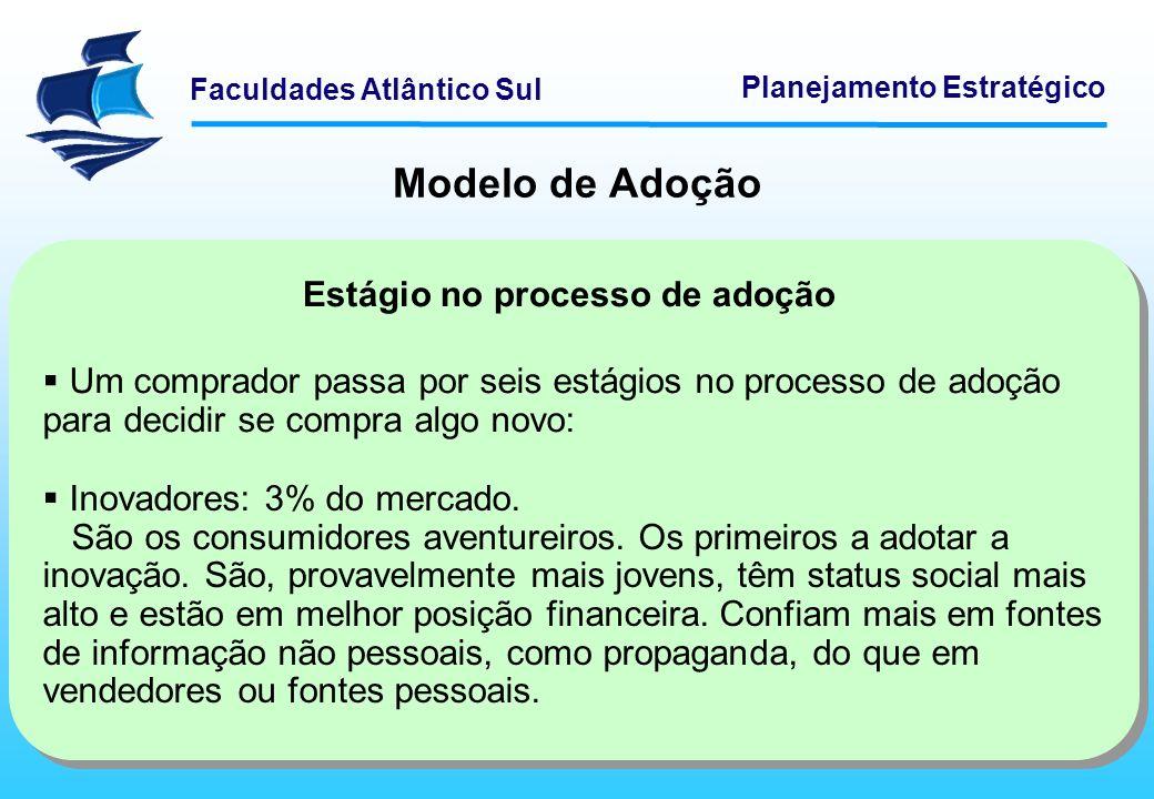 Faculdades Atlântico Sul Planejamento Estratégico Modelo de Adoção Estágio no processo de adoção Um comprador passa por seis estágios no processo de a