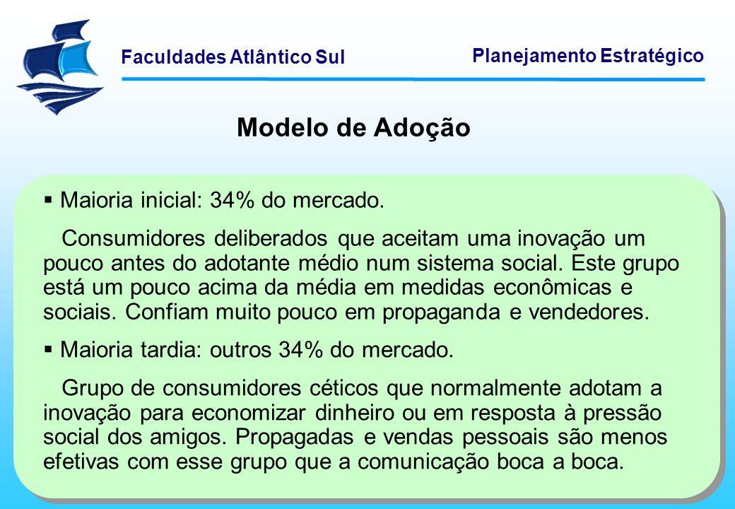 Faculdades Atlântico Sul Planejamento Estratégico Maioria inicial: 34% do mercado. Consumidores deliberados que aceitam uma inovação um pouco antes do