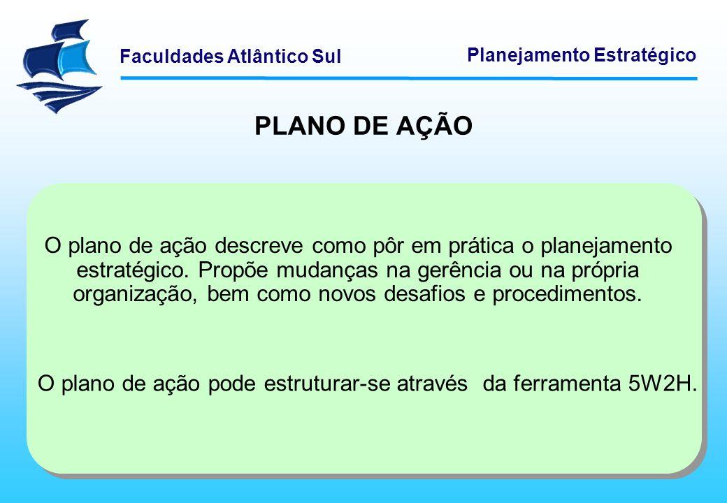Faculdades Atlântico Sul Planejamento Estratégico O plano de ação descreve como pôr em prática o planejamento estratégico. Propõe mudanças na gerência