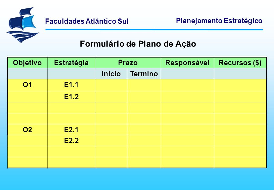 Faculdades Atlântico Sul Planejamento Estratégico Formulário de Plano de Ação ObjetivoEstratégiaPrazoResponsávelRecursos ($) InicioTermino O1E1.1 E1.2