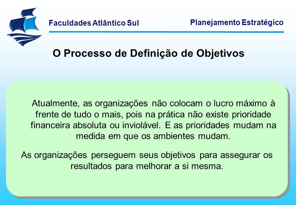 Faculdades Atlântico Sul Planejamento Estratégico O Processo de Definição de Objetivos As organizações perseguem seus objetivos para assegurar os resu
