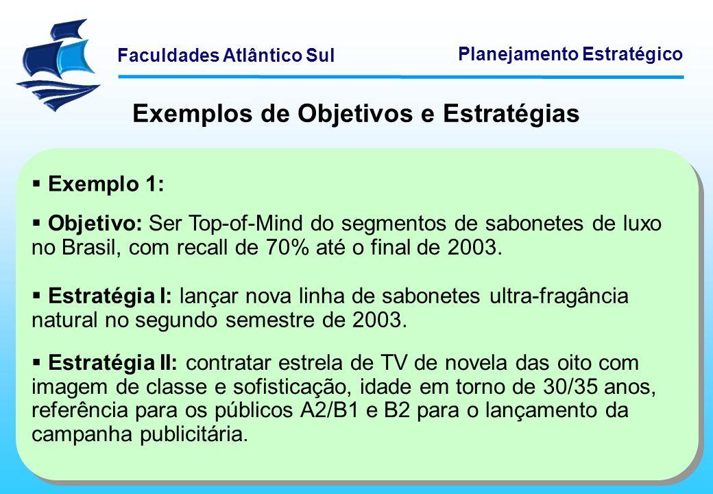 Faculdades Atlântico Sul Planejamento Estratégico Objetivo: Ser Top-of-Mind do segmentos de sabonetes de luxo no Brasil, com recall de 70% até o final