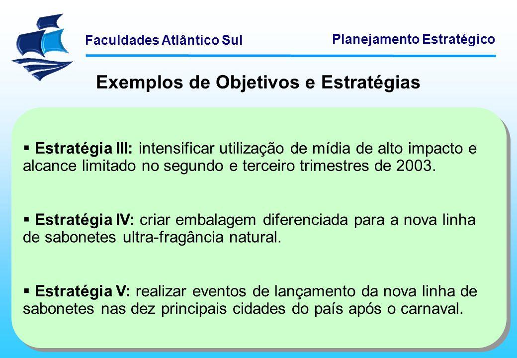 Faculdades Atlântico Sul Planejamento Estratégico Exemplos de Objetivos e Estratégias Estratégia III: intensificar utilização de mídia de alto impacto