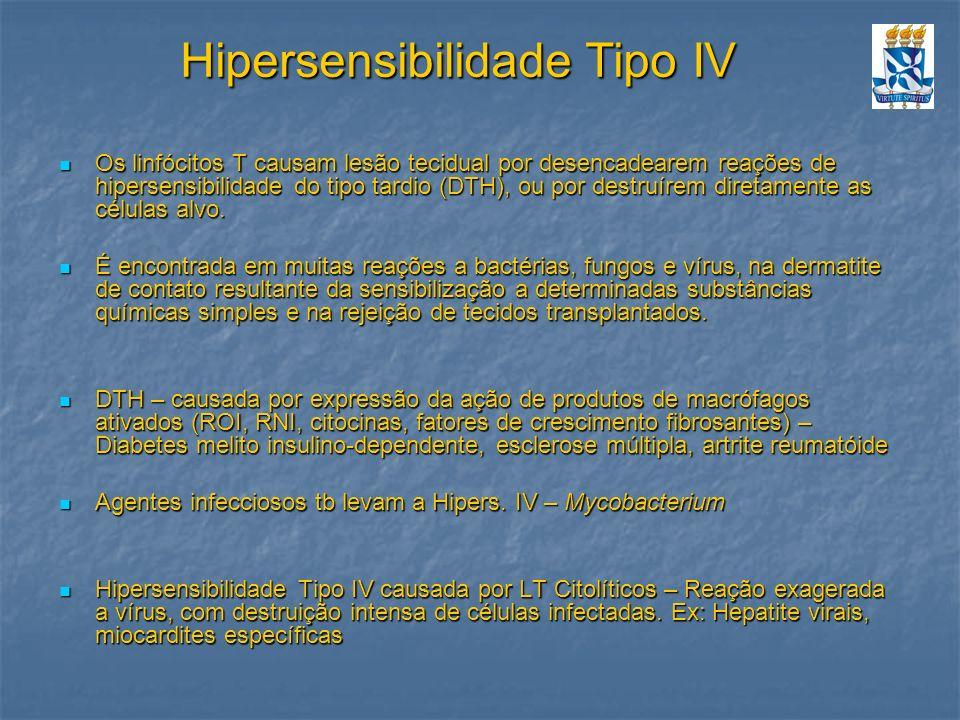 Hipersensibilidade Tipo IV Os linfócitos T causam lesão tecidual por desencadearem reações de hipersensibilidade do tipo tardio (DTH), ou por destruír