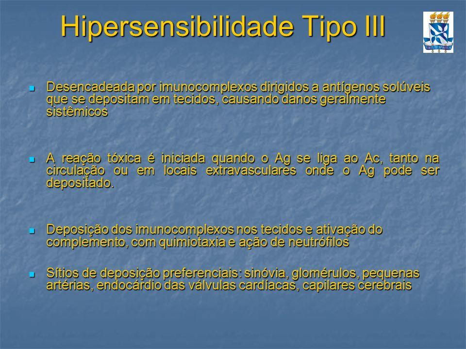 Hipersensibilidade Tipo III Desencadeada por imunocomplexos dirigidos a antígenos solúveis que se depositam em tecidos, causando danos geralmente sist