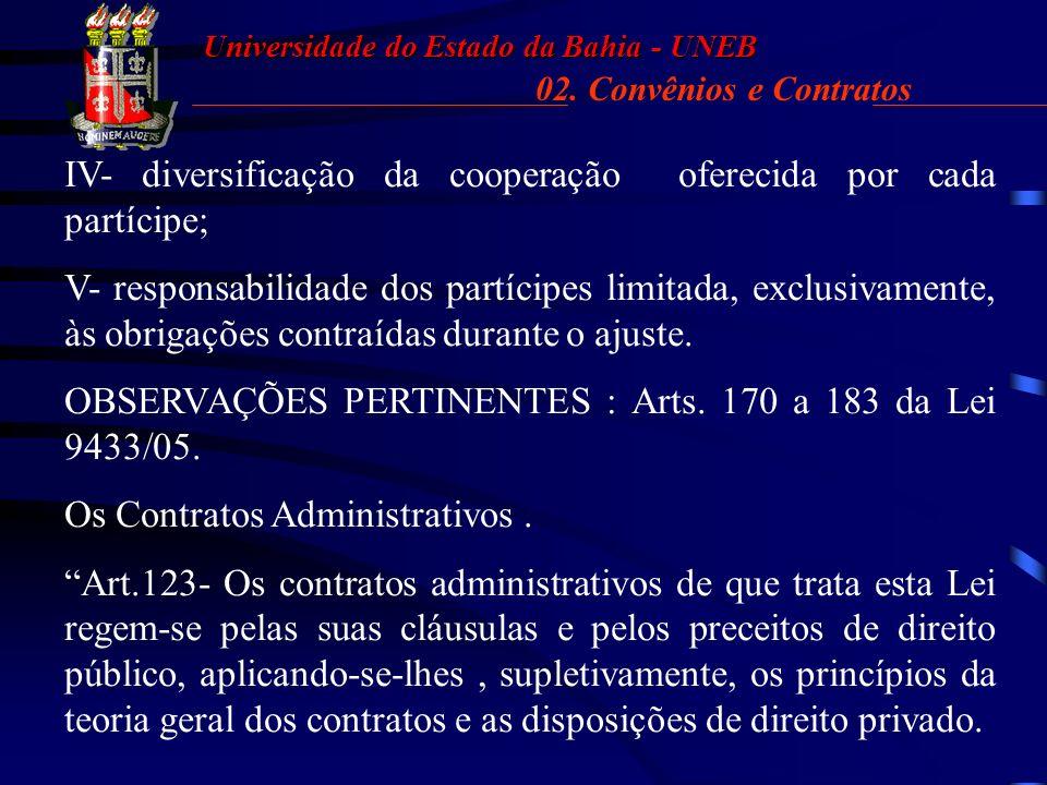Universidade do Estado da Bahia - UNEB 02. Convênios e Contratos. Diferenças. 02. CONVÊNIOS E CONTRATOS (DIFERENÇAS) LEI ESTADUAL N° 9433/2005. Art. 1