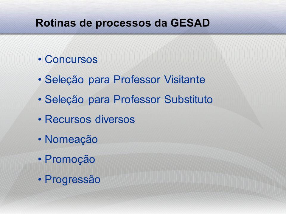 Rotinas de processos da GESAD Exoneração Licença sabática Licença prêmio Disponibilidade Renovação de contratos Recontratação Remoção