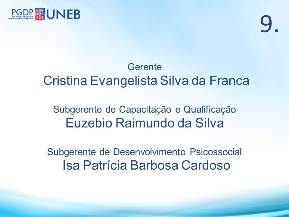 Gerente Cristina Evangelista Silva da Franca Subgerente de Capacitação e Qualificação Euzebio Raimundo da Silva Subgerente de Desenvolvimento Psicosso