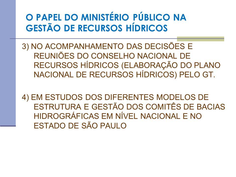 O PAPEL DO MINISTÉRIO PÚBLICO NA GESTÃO DE RECURSOS HÍDRICOS 3) NO ACOMPANHAMENTO DAS DECISÕES E REUNIÕES DO CONSELHO NACIONAL DE RECURSOS HÍDRICOS (E