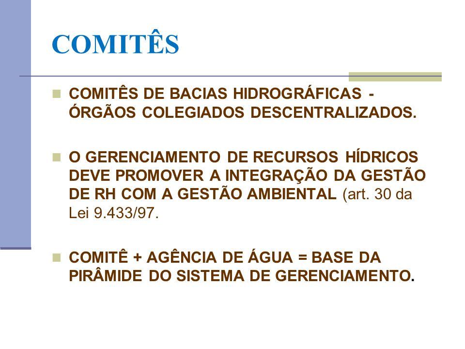 COMITÊS COMITÊS DE BACIAS HIDROGRÁFICAS - ÓRGÃOS COLEGIADOS DESCENTRALIZADOS. O GERENCIAMENTO DE RECURSOS HÍDRICOS DEVE PROMOVER A INTEGRAÇÃO DA GESTÃ