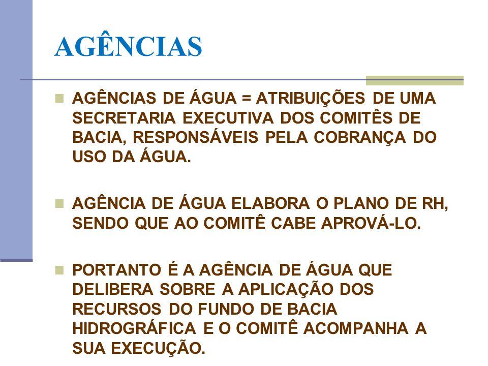 AGÊNCIAS AGÊNCIAS DE ÁGUA = ATRIBUIÇÕES DE UMA SECRETARIA EXECUTIVA DOS COMITÊS DE BACIA, RESPONSÁVEIS PELA COBRANÇA DO USO DA ÁGUA. AGÊNCIA DE ÁGUA E