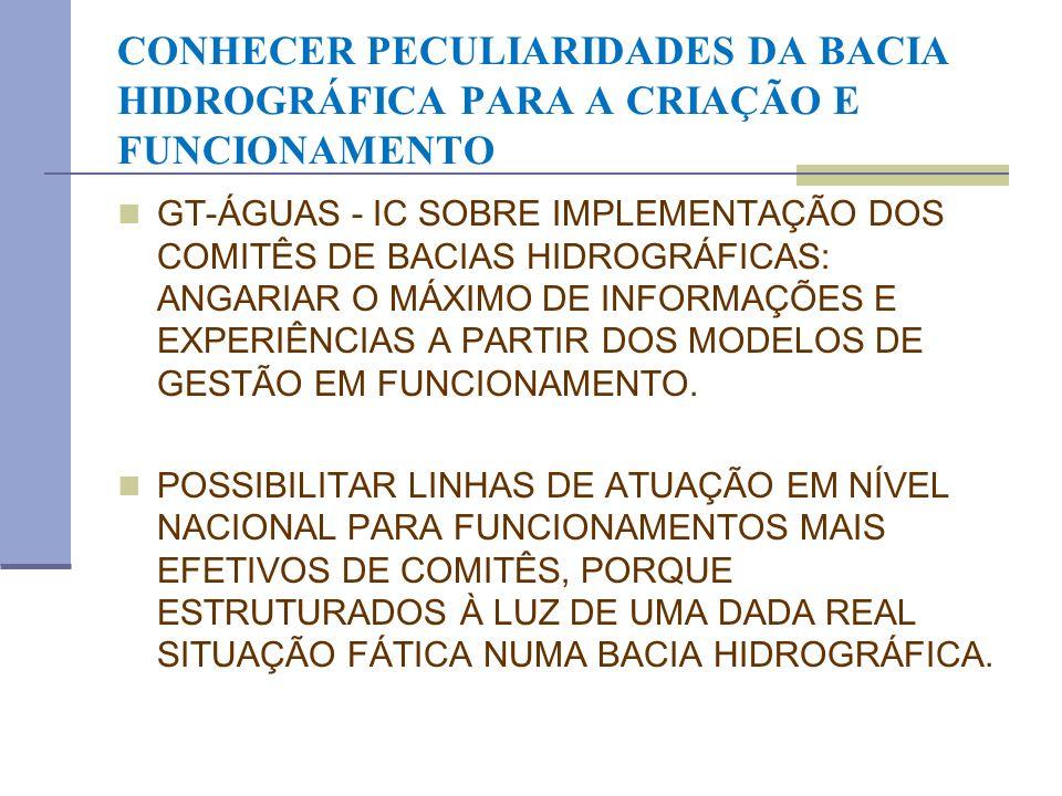 CONHECER PECULIARIDADES DA BACIA HIDROGRÁFICA PARA A CRIAÇÃO E FUNCIONAMENTO GT-ÁGUAS - IC SOBRE IMPLEMENTAÇÃO DOS COMITÊS DE BACIAS HIDROGRÁFICAS: AN