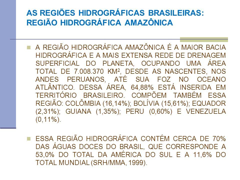 AS REGIÕES HIDROGRÁFICAS BRASILEIRAS: REGIÃO HIDROGRÁFICA AMAZÔNICA A REGIÃO HIDROGRÁFICA AMAZÔNICA É A MAIOR BACIA HIDROGRÁFICA E A MAIS EXTENSA REDE
