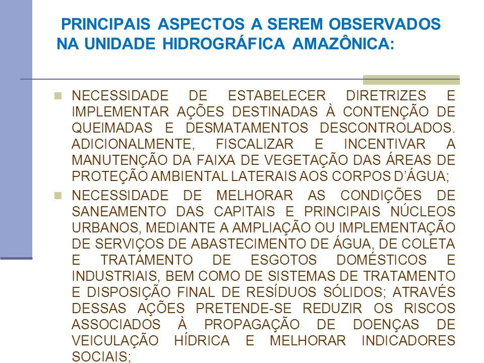 PRINCIPAIS ASPECTOS A SEREM OBSERVADOS NA UNIDADE HIDROGRÁFICA AMAZÔNICA: NECESSIDADE DE ESTABELECER DIRETRIZES E IMPLEMENTAR AÇÕES DESTINADAS À CONTE