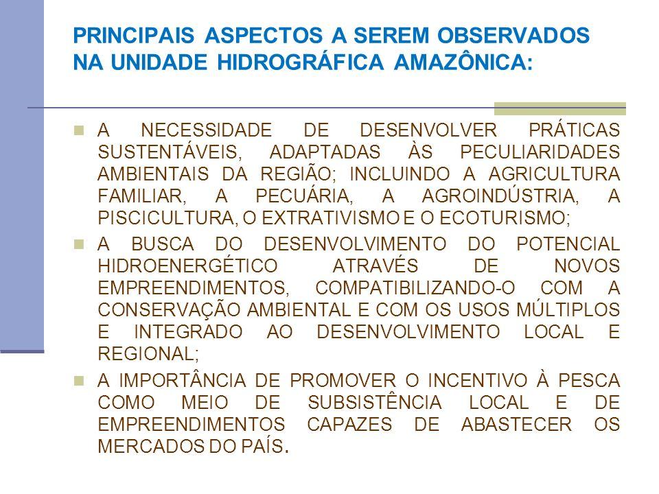 PRINCIPAIS ASPECTOS A SEREM OBSERVADOS NA UNIDADE HIDROGRÁFICA AMAZÔNICA: A NECESSIDADE DE DESENVOLVER PRÁTICAS SUSTENTÁVEIS, ADAPTADAS ÀS PECULIARIDA