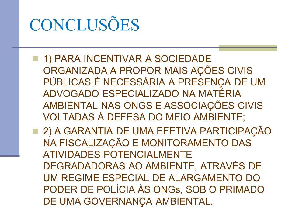 CONCLUSÕES 1) PARA INCENTIVAR A SOCIEDADE ORGANIZADA A PROPOR MAIS AÇÕES CIVIS PÚBLICAS É NECESSÁRIA A PRESENÇA DE UM ADVOGADO ESPECIALIZADO NA MATÉRI
