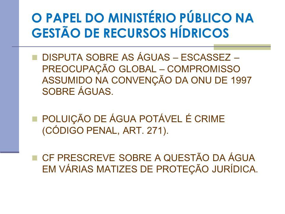 O PAPEL DO MINISTÉRIO PÚBLICO NA GESTÃO DE RECURSOS HÍDRICOS DECLARAÇÃO DE LIMOGES II (2002): ÁGUA É RECURSO INDISPENSÁVEL À VIDA; O DIREITO À ÁGUA É INDISSOCIÁVEL DOS OUTROS DIREITOS HUMANOS; DEVER DO PODER PÚBLICO DE FAVORECER O ACESSO À ÁGUA PARA TODOS E DE CONTROLAR AS ATIVIDADES DE GESTÃO DA ÁGUA; DEVER DE PERMITIR AOS USUÁRIOS PARTICIPAR NAS DECISÕES DE GESTÃO.