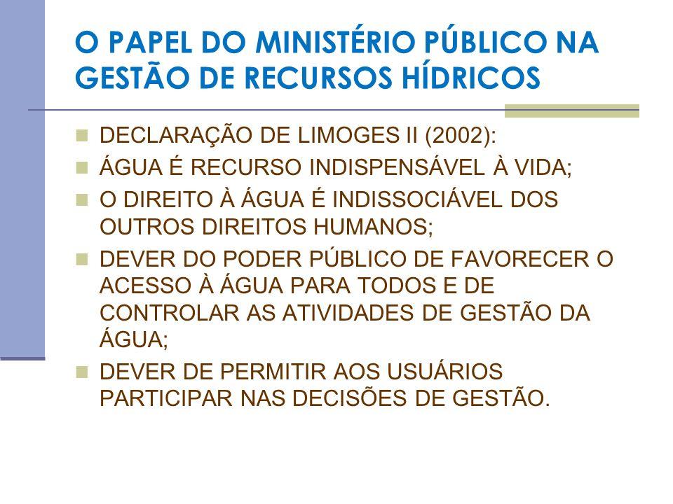 O PAPEL DO MINISTÉRIO PÚBLICO NA GESTÃO DE RECURSOS HÍDRICOS DECLARAÇÃO DE LIMOGES II (2002): ÁGUA É RECURSO INDISPENSÁVEL À VIDA; O DIREITO À ÁGUA É