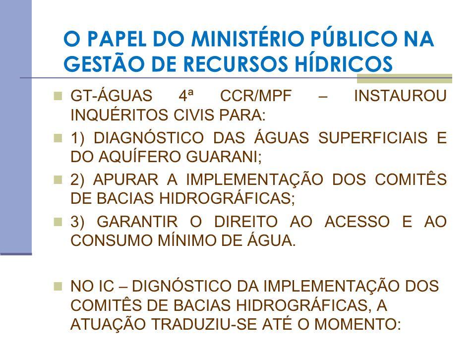 O PAPEL DO MINISTÉRIO PÚBLICO NA GESTÃO DE RECURSOS HÍDRICOS 1) NA FACILITAÇÃO DOS CANAIS DE COMUNICAÇÃO ENTRE MINISTÉRIO PÚBLICO FEDERAL, MINISTÉRIO DO MEIO AMBIENTE, ANA, COMITÊS DE BACIAS HIDROGRÁFICAS E SECRETARIAS ESTADUAIS DE RECURSOS HÍDRICOS; 2) EM TERMOS NACIONAIS, NA CONSTATAÇÃO DO ÍNFIMO NÚMERO DE COMITÊS DE BACIA HIDROGRÁFICAS INSTALADOS E FUNCIONANDO A CONTENTO