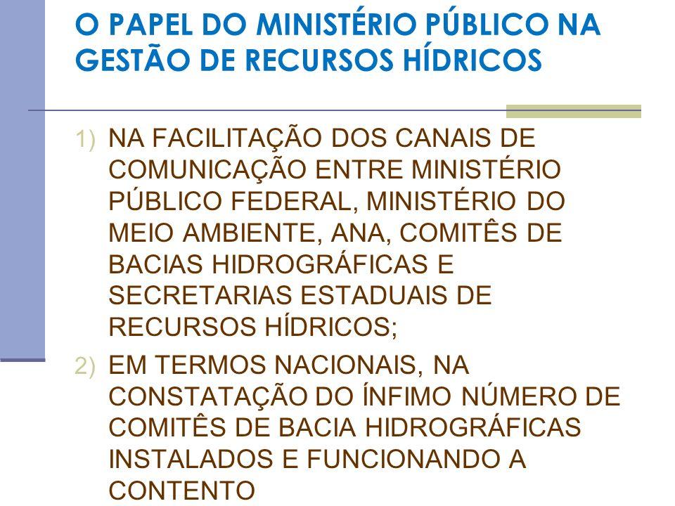 MPF ATUAÇÃO PARA IMPLEMENTAÇÃO DA AGÊNCIA DE ÁGUAS NA AUSÊNCIA DE AGÊNCIA DE ÁGUA, O MINISTÉRIO PÚBLICO PODE EXPEDIR RECOMENDAÇÕES SOB PENA DE ACP PARA QUE TODAS AS ORGANIZAÇÕES CIVIS DE RECURSOS HÍDRICOS DE UMA BACIA POSSAM CANDIDATAR-SE AO PROCEDIMENTO DE SELEÇÃO PARA A DELEGAÇÃO DAS FUNÇÕES DE AGÊNCIA DE ÁGUA (LEI 10.881/04 QUE ALTEROU O ART.