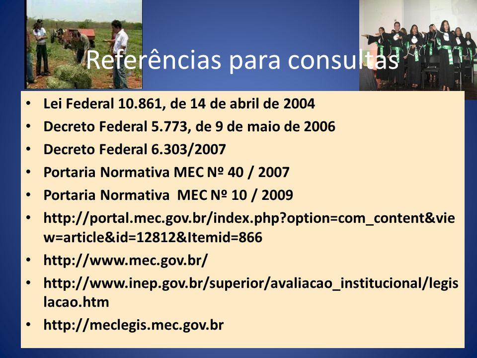 Referências para consultas Lei Federal 10.861, de 14 de abril de 2004 Decreto Federal 5.773, de 9 de maio de 2006 Decreto Federal 6.303/2007 Portaria