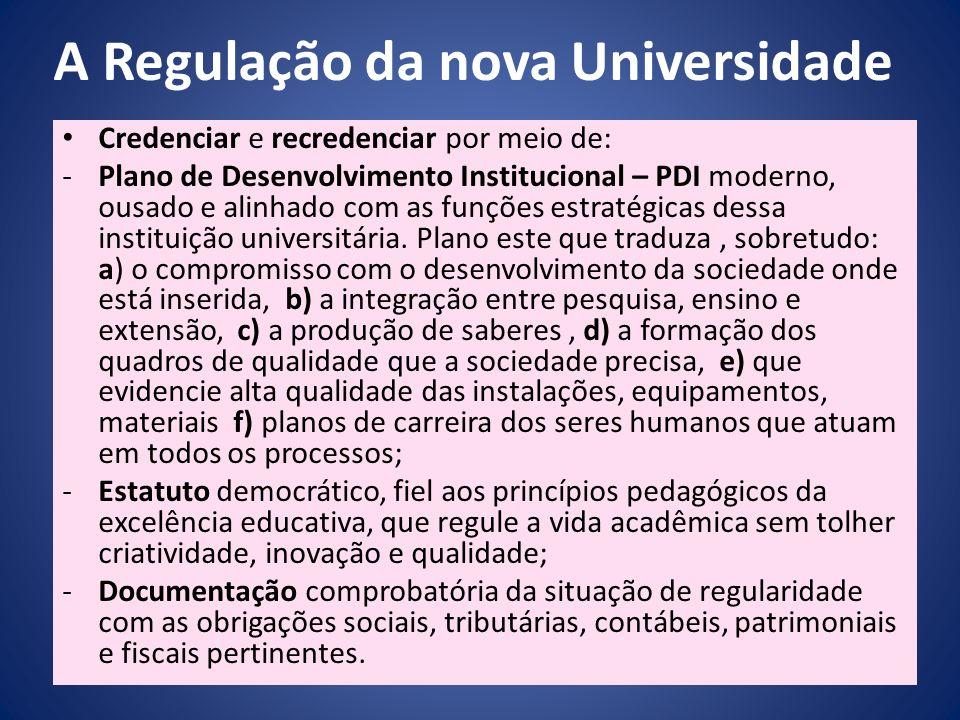 A Regulação da nova Universidade Credenciar e recredenciar por meio de: -Plano de Desenvolvimento Institucional – PDI moderno, ousado e alinhado com a