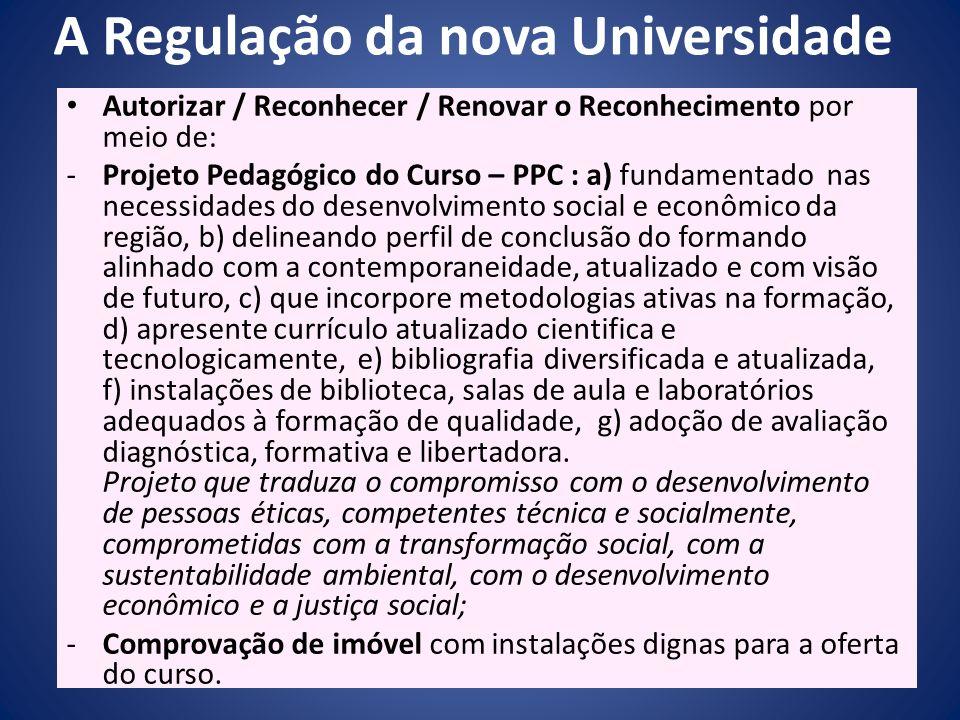 A Regulação da nova Universidade Autorizar / Reconhecer / Renovar o Reconhecimento por meio de: -Projeto Pedagógico do Curso – PPC : a) fundamentado n