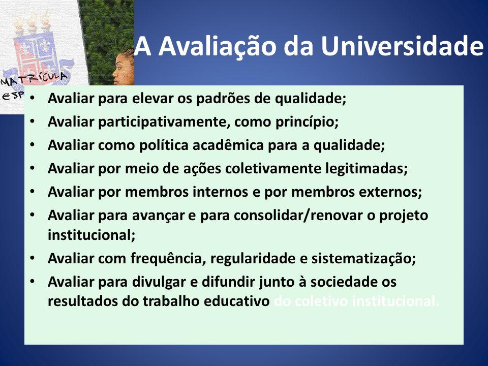 A Avaliação da Universidade Avaliar para elevar os padrões de qualidade; Avaliar participativamente, como princípio; Avaliar como política acadêmica p