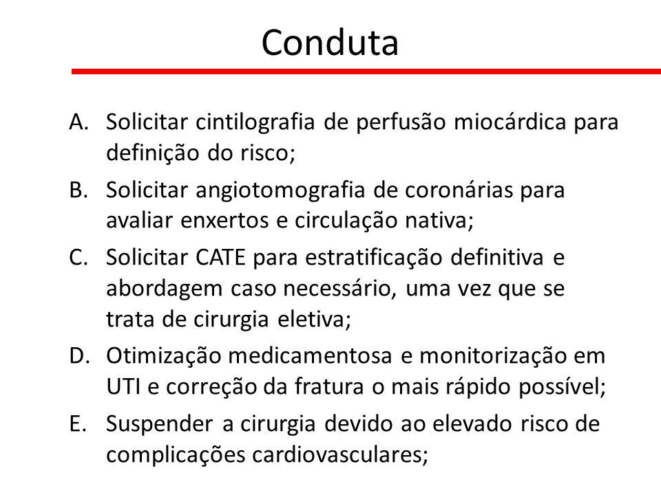 Conduta A.Solicitar cintilografia de perfusão miocárdica para definição do risco; B.Solicitar angiotomografia de coronárias para avaliar enxertos e ci