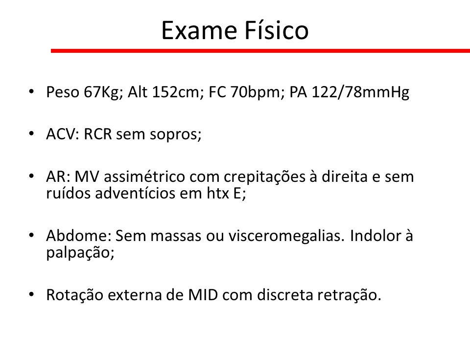 Exame Físico Peso 67Kg; Alt 152cm; FC 70bpm; PA 122/78mmHg ACV: RCR sem sopros; AR: MV assimétrico com crepitações à direita e sem ruídos adventícios