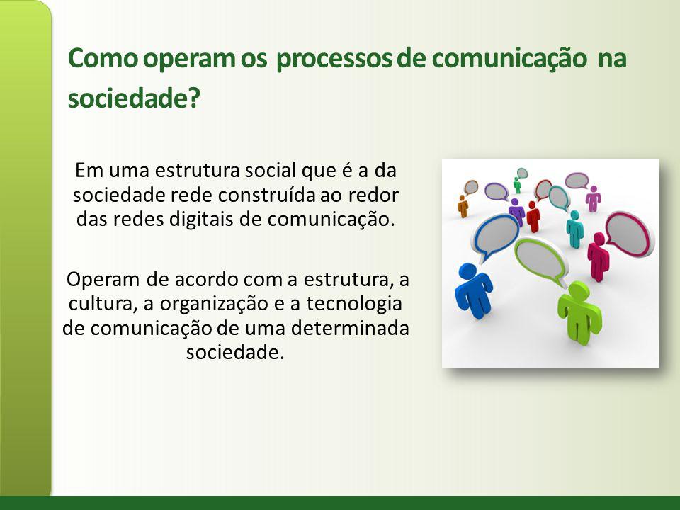 Como operam os processos de comunicação na sociedade? Em uma estrutura social que é a da sociedade rede construída ao redor das redes digitais de comu