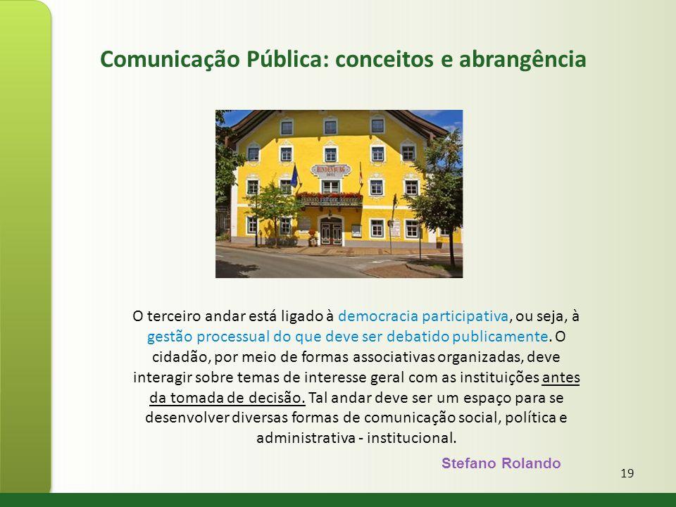 19 O terceiro andar está ligado à democracia participativa, ou seja, à gestão processual do que deve ser debatido publicamente. O cidadão, por meio de