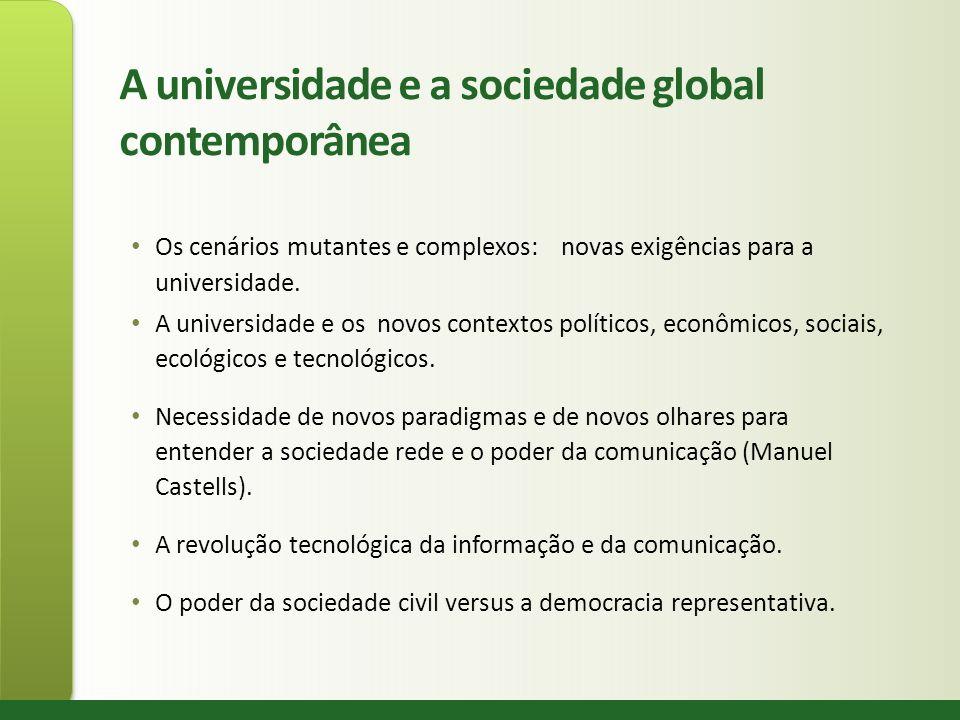 A universidade e a sociedade global contemporânea Os cenários mutantes e complexos: novas exigências para a universidade. A universidade e os novos co