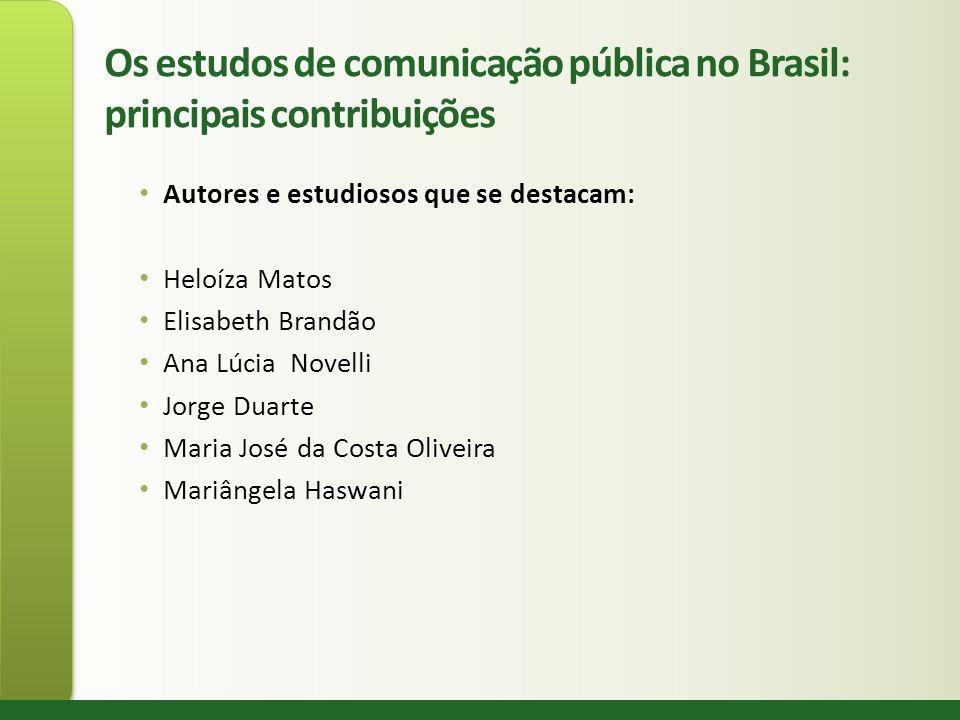 Os estudos de comunicação pública no Brasil: principais contribuições Autores e estudiosos que se destacam: Heloíza Matos Elisabeth Brandão Ana Lúcia
