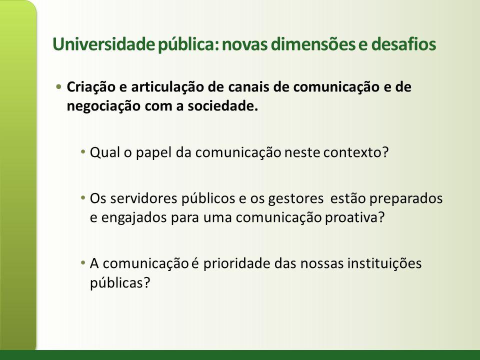 Universidade pública: novas dimensões e desafios Criação e articulação de canais de comunicação e de negociação com a sociedade. Qual o papel da comun