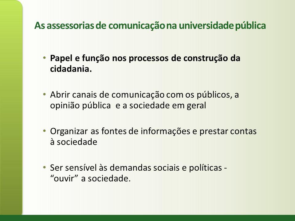 As assessorias de comunicação na universidade pública Papel e função nos processos de construção da cidadania. Abrir canais de comunicação com os públ