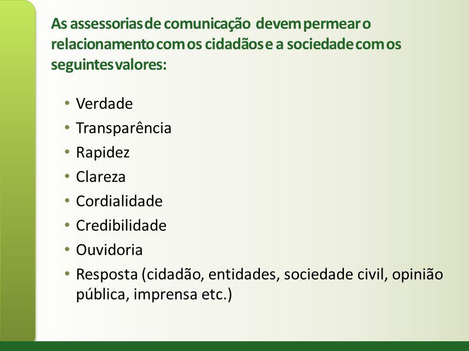 As assessorias de comunicação devem permear o relacionamento com os cidadãos e a sociedade com os seguintes valores: Verdade Transparência Rapidez Cla
