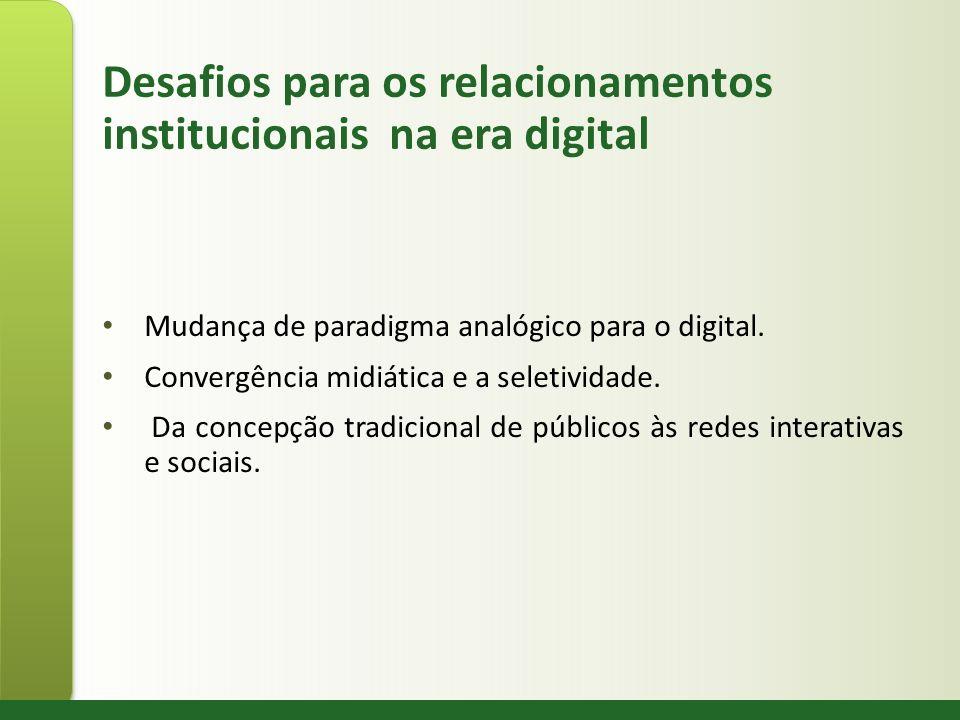 Desafios para os relacionamentos institucionais na era digital Mudança de paradigma analógico para o digital. Convergência midiática e a seletividade.